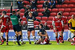 Bristol Rugby Fly-Half Matthew Morgan scores a try - Mandatory byline: Rogan Thomson/JMP - 22/01/2016 - RUGBY UNION - Ashton Gate Stadium - Bristol, England - Bristol Rugby v Ulster A - British & Irish Cup.
