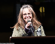 Sally Field speaking at an inauguration eve anti-Trump rally in New York City