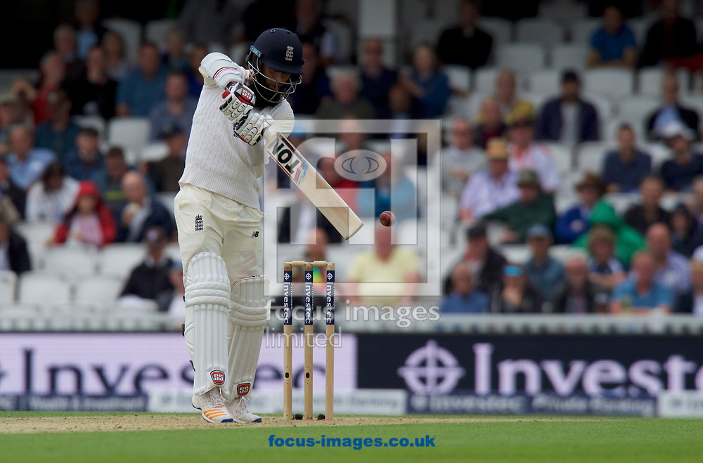 Moeen Ali of England batting during the 100th Investec Test Match match at the Kia Oval, London<br /> Picture by Alan Stanford/Focus Images Ltd +44 7915 056117<br /> 28/07/2017