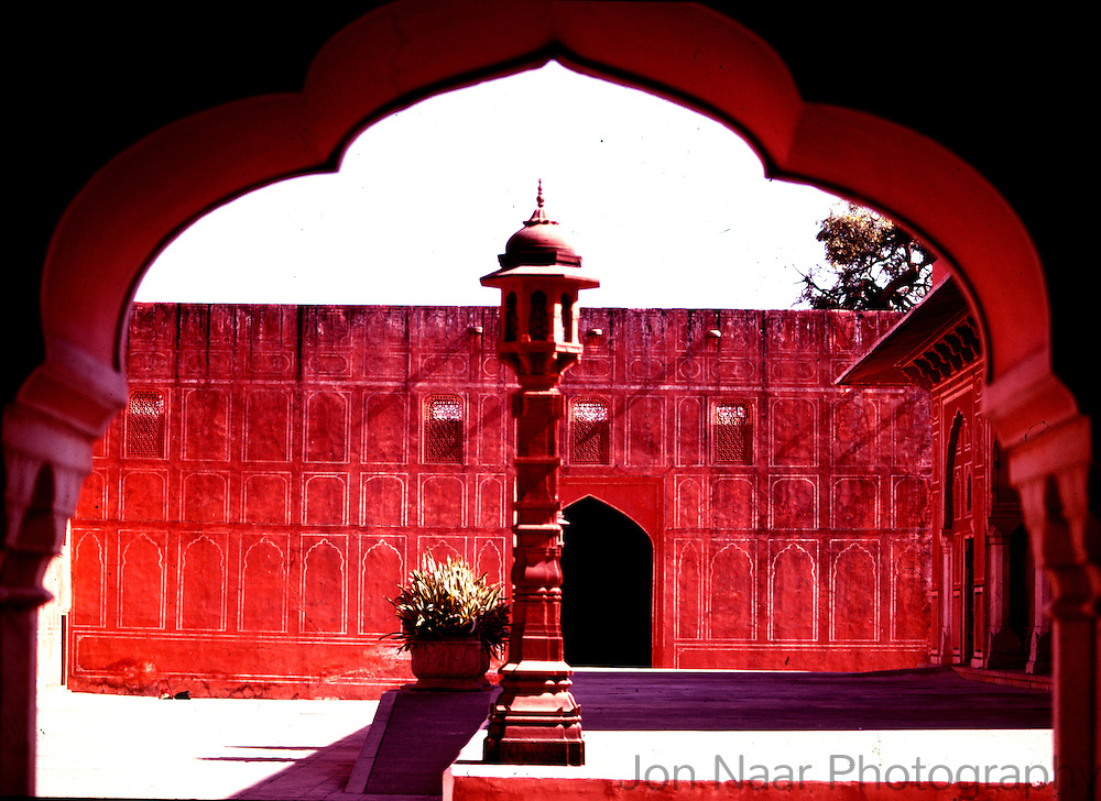 Interior courtyard of the Palace of the Winds in Jaipur India.  Taken with a 35 mm Leica M4 in 1979.