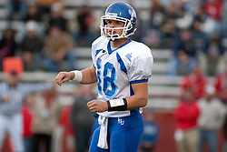 12 November 2005:Sycamore QuarterBack Blayne Baggett.  Illinois State Redbirds topple the Indiana State Sycamore 70-28 at Hancock Stadium in Normal Illinois