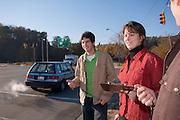 18491..Deborah McAvoy with Andrew Wargo and Jose Pernas(green shirt) monitoring traffic