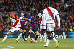 March 9, 2019 - Barcelona, Catalonia, Spain - FC Barcelona forward Lionel Messi (10) and Rayo Vallecano defender Alejandro Galvez (23) during the match FC Barcelona v Rayo Vallecano, for the round 27 of La Liga played at Camp Nou  on 9th March 2019 in Barcelona, Spain. (Credit Image: © Mikel Trigueros/NurPhoto via ZUMA Press)
