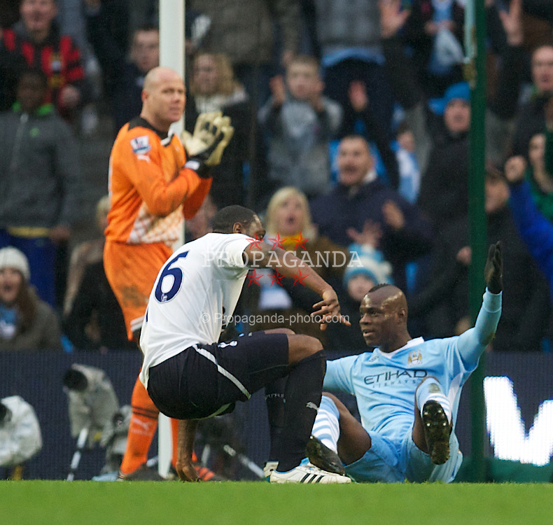 MANCHESTER, ENGLAND - Sunday, January 22, 2011: Manchester City's Mario Balotelli appeals for a penalty against Tottenham Hotspur during the Premiership match at the City of Manchester Stadium. (Pic by David Rawcliffe/Propaganda)
