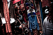 Shoppers at clothing store on Fan Tan Alley