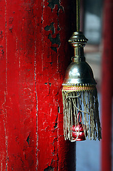 "China, Wutai Shan, 2007. This tiny temple decoration marks one of Wutai Shan's many Buddhist shrines. ""Five-Terrace Mountain,"" as it is known, is one of China's four major monastic communities.."