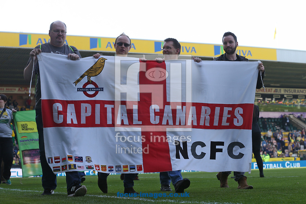 The various supporters clubs parade around the pitch at half time during the Sky Bet Championship match at Carrow Road, Norwich<br /> Picture by Paul Chesterton/Focus Images Ltd +44 7904 640267<br /> 08/04/2017