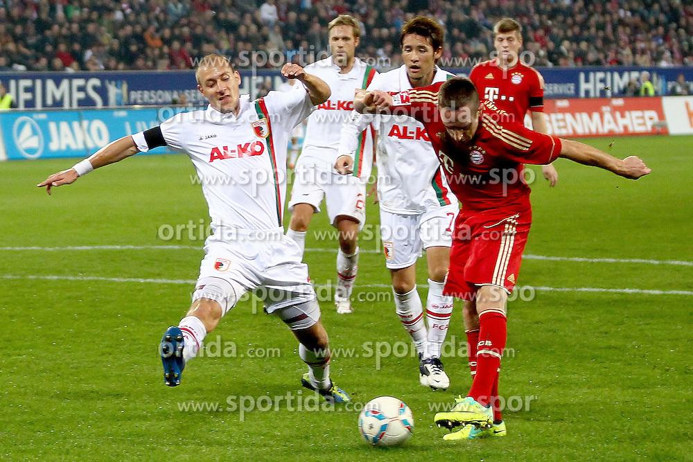 06.11.2011, SGL Arena, Augsburg, GER, 1.FBL, FC Augsburg vs. FC Bayern Muenchen, im Bild  Franck Ribery (Bayern #7) schiesst das Tor zum 0-2  mit Dominik Reinhardt (Augsburg #4)  // during the match  FC Augsburg vs. FC Bayern Muenchen , on 2011/11/06, SGL Arena, Augsburg, Germany, EXPA Pictures © 2011, PhotoCredit: EXPA/ nph/  Straubmeier       ****** out of GER / CRO  / BEL ******