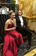 Tamara Ecclestone and her escort, Guilhem de Castelbajac. Crillon Haute Couture Ball. Crillon Hotel, Paris. 2 December 2000. © Copyright Photograph by Dafydd Jones 66 Stockwell Park Rd. London SW9 0DA Tel 020 7733 0108 www.dafjones.com