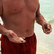 Looking at tropical seashells on the white beaches of Sanibel Island, Florida.
