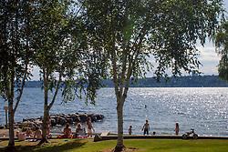 United States, Washington, Bellevue, Medina Beach Park on Lake Washington
