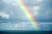 Strong rainbow, all colors appearing, over a dark blue flat sea, against a sky packed with grey and white clouds.  The rainbow seems solid and majestic, disappearing into the sea at the horizon.