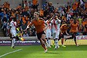 Dave Edwards celebrates scoring the equaliser during the Sky Bet Championship match between Wolverhampton Wanderers and Charlton Athletic at Molineux, Wolverhampton, England on 29 August 2015. Photo by Alan Franklin.