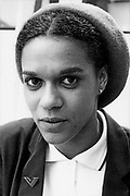 A portrait of Pauline Black, a young woman wearing Ska, 2 Tone style, UK 1980