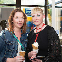 22/07/2015 repro free Sinead Ni Flatharta Carraroe and Johanna Ni Mhaille  Inverin, at the Ulster Bank sponsored evening at The Galway International Arts Festival&rsquo;s production of Frank McGuinnesses&rsquo;  The Match Box, starring Cathy Belton At the Town Hall Theatre. Photo:Andrew Downes.<br /> xposure