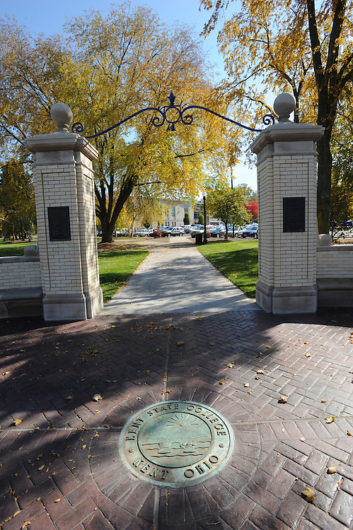 The newly reconstructed Prentice Gate greets visitors and students along the East Main Street side of the Kent campus near Rockwell Hall.