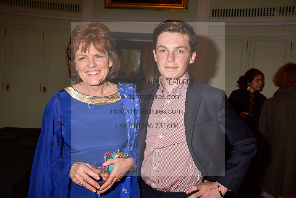 The Duchess of Rutland and her son Lord Hugo Manners at a party to celebrate the publication of Resolution by The Duke of Rutland and Emma Ellis held at Trinity House, Tower Hill, London England. 10 April 2017.