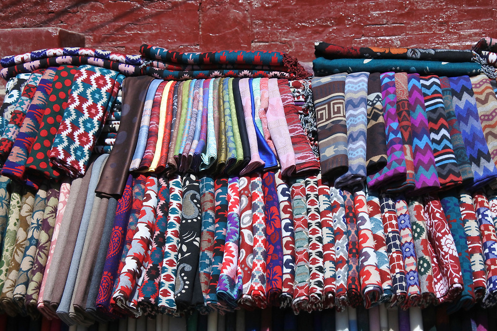 Scarfs and blanets for sale in the Kathmandu Market
