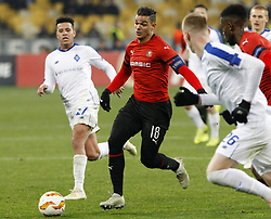 November 8, 2018 - Kiev, Ukraine - Dynamo Sidcley (L) vies with Rennes' Hatem Ben Arfa (C) during the UEFA Europa League Group K second-leg football match between Rennes and Dynamo Kyiv at the Olympiyskiy Stadium in Kiev, Ukraine, 08 November 2018. (Credit Image: © Str/NurPhoto via ZUMA Press)