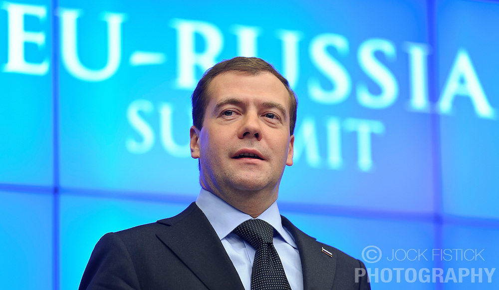 """Dmitry Medvedev, Russia's president, speaks during a press conference following the EU-Russia summit at the European Union council headquarters in Brussels, Belgium, on Tuesday, Dec. 7, 2010. Russia will move a step closer to membership in the World Trade Organisation today when it signs an agreement with the European Union settling """"key questions"""" that have hampered its accession bid for years. (Photo © Jock Fistick)."""