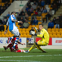 St Johnstone v Ross County...17.11.12      SPL<br /> Gregory Tade's effort is deflected wide by Ross Tokely<br /> Picture by Graeme Hart.<br /> Copyright Perthshire Picture Agency<br /> Tel: 01738 623350  Mobile: 07990 594431