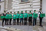 Today (Tuesday), the day before Alistair Darling makes his 2010 Budget speech, around a dozen Robin Hoods will be delivering their own green-coloured Budget boxes to the Treasury, calling on the Chancellor to announce the introduction of a tax on banks' financial transactions.. .To illustrate the call from the Robin Hood Tax campaign, the green-clad Robin Hoods will be marching in a line from College Green across Parliament Square en route to the Treasury offices in Parliament Street.. .Inside the green Robin Hood Tax campaign Budget boxes will be a letter to the Chancellor calling on him to kick start international agreement for new financial transaction taxes by using Wednesday's Budget to announce a new unilateral UK sterling tax.. .The boxes will also contain a scroll reminding Alistair Darling of the support that the Robin Hood Tax campaign has gathered since it launched last month. Some 100 organisations are now backing the coalition, which has 141,085 fans on Facebook and 71,492 people have voted yes to a financial transactions tax on the campaign's website www.robinhoodtax.org.uk
