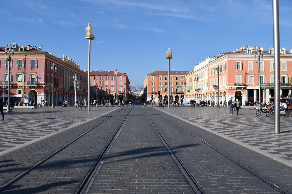 Place Massena in Nice, France, BuildingsA, blue sky