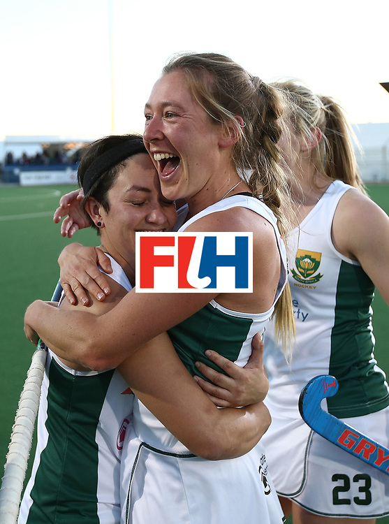 JOHANNESBURG, SOUTH AFRICA - JULY 16:  Candice Manuel of South Africa(L) celebrates at the final whistle during day 5 of the FIH Hockey World League Women's Semi Finals Pool B match between South Africa and United States of America at Wits University on July 16, 2017 in Johannesburg, South Africa.  (Photo by Jan Kruger/Getty Images for FIH)
