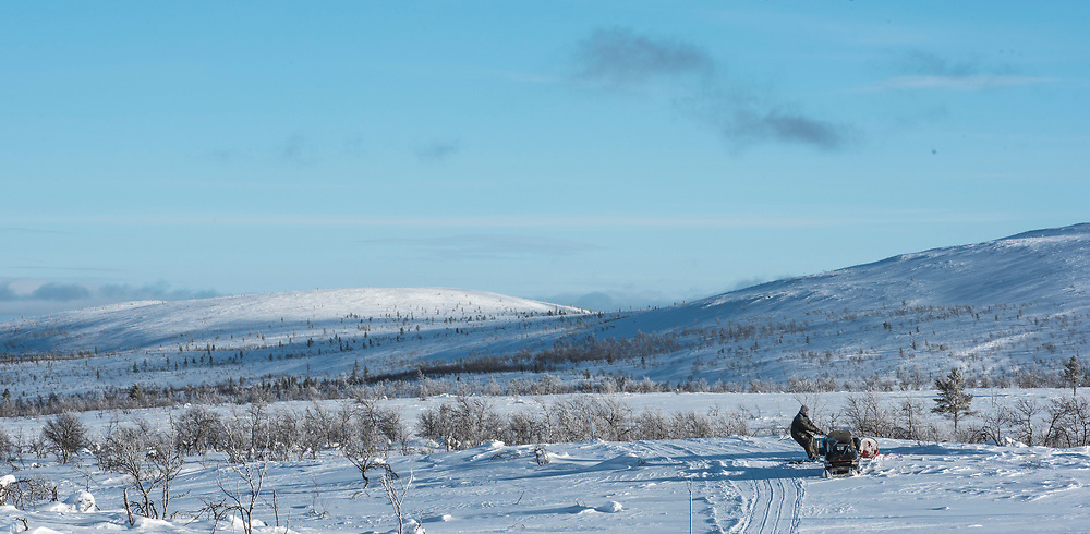 Gold miner Jukka Sarre is loading barrels of gasoline on his sledge in Lemmenjoki wilderness.