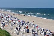 Sylt, Germany. Wenningstedt-Braderup. Strandkörbe (beach baskets).