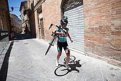 A Giusfredi Bianchi Cycling Team rider runs to towards the finish after a mechanical during Stage 5 of the Giro Rosa - a 12.7 km individual time trial, starting and finishing in Sant'Elpido A Mare on July 4, 2017, in Fermo, Italy. (Photo by Balint Hamvas/Velofocus.com)