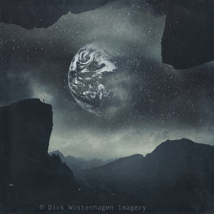 Fantastic landscape with stars and an earth like planet in the sky - photomanipulation<br /> Thanks NASA for the image of Earth<br /> <br /> Prints &amp; more: https://society6.com/product/dream-orbit-ii_print#1=45