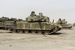 A challenger the British Army Main Battle Tank parked at Shibah Logistics Base in Southern Iraq during Op Telic 2005