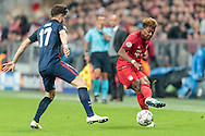 David Alaba of Bayern Munich and Saul of Atletico Madrid during the UEFA Champions League match at Allianz Arena, Munich<br /> Picture by EXPA Pictures/Focus Images Ltd 07814482222<br /> 03/05/2016<br /> ***UK &amp; IRELAND ONLY***<br /> EXPA-FEI-160503-5005.jpg