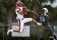 Xavier Mascareñas/Treasure Coast Newspapers; St. Lucie West Centennial's Antonio Scionti (left) makes a leaping catch for the first touchdown of the game, as Jensen Beach's Javaris Thompson defends, with seconds left in the first quarter during the high school football game Sept. 1, 2017, at Jensen Beach High School.