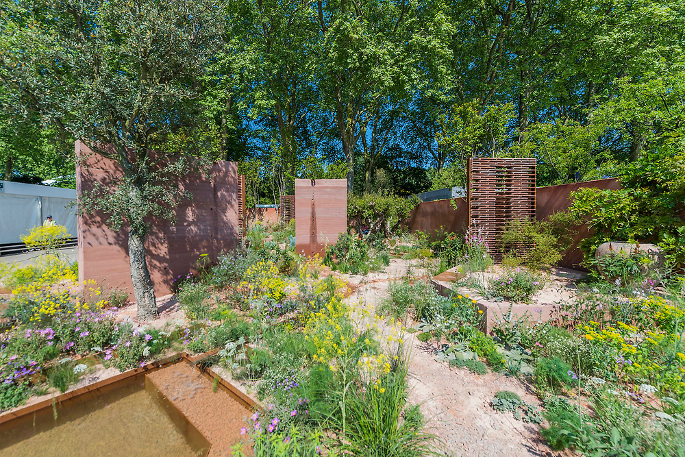 The Seedlip Garden, Sponsor: Seedlip, Designer: Dr Catherine MacDonald and Contractor: Landform - The RHS Chelsea Flower Show at the Royal Hospital, Chelsea.