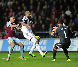 Swansea City's Ashley Williams misses his clearance and collides with Swansea City's Michel Vorm - Photo mandatory by-line: Joe Meredith/JMP - Tel: Mobile: 07966 386802 27/10/2013 - SPORT - FOOTBALL - Liberty Stadium - Swansea - Swansea City v West Ham United - Barclays Premier League