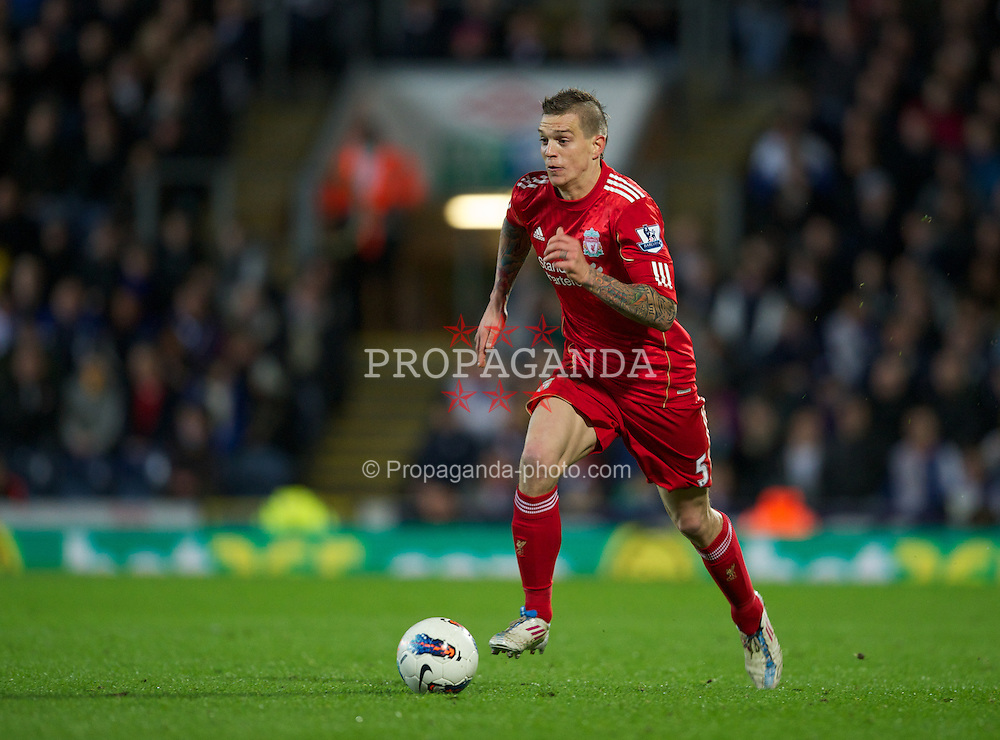 BLACKBURN, ENGLAND - Tuesday, April 10, 2012: Liverpool's Daniel Agger in action against Blackburn Rovers during the Premiership match at Ewood Park. (Pic by David Rawcliffe/Propaganda)