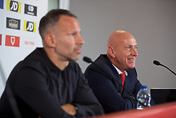 BARRY, WALES - Thursday, October 3, 2019: Wales' head of public affairs Ian Gwyn Hughes (R) with manager Ryan Giggs during a press conference to announce his squad for the forthcoming UEFA Euro 2020 Qualifying Group E qualifying matches against Slovakia and Croatia. (Pic by David Rawcliffe/Propaganda)