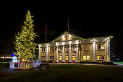 Fort Langley Community Hall on a winter night, Fort Langley, British Columbia, Canada.