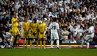 Photo: Jed Wee.<br /> Leeds United v Preston North End. Coca Cola Championship. Play-off, First Leg. 05/05/2006. <br /> <br /> Leeds' Eddie Lewis (R) curls the equaliser home from a freekick.