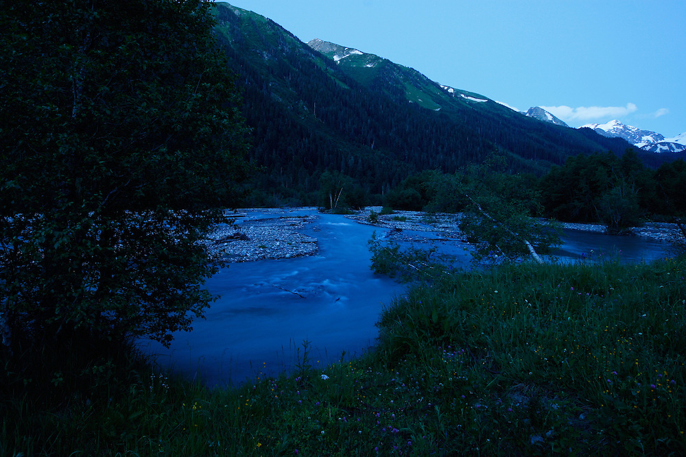 Russia, Caucasus, Teberdinsky Biosphere reserve, Arkhyz River after sunset, in the Arkhyz valley in the western part of the reserve.