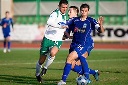 Sebastjan Cimirotic of Olimpija vs Rok Marinic of Drava at 18th Round of PrvaLiga football match between NK Olimpija and NK Labod Drava, on November 21, 2009, in ZAK, Ljubljana, Slovenia. Olimpija defeated Drava 3:0. (Photo by Vid Ponikvar / Sportida)