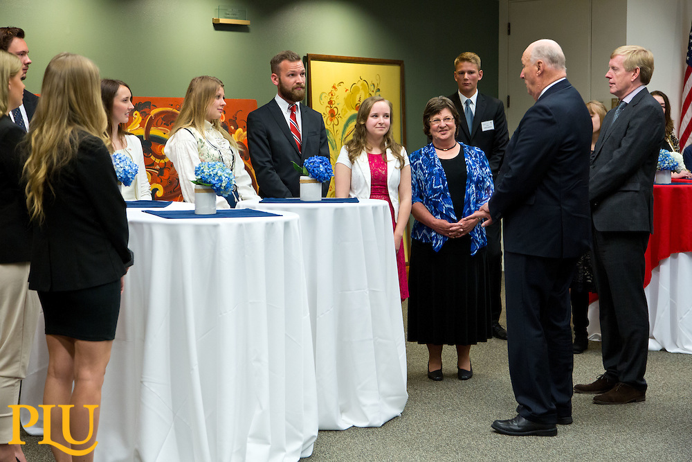 HM King Harald V of Norway meets with faculty and students while visiting Pacific Lutheran University on Saturday, May 23, 2015. His Majesty delivered the commencement address and received an honorary degree. (Photo: John Froschauer/PLU)