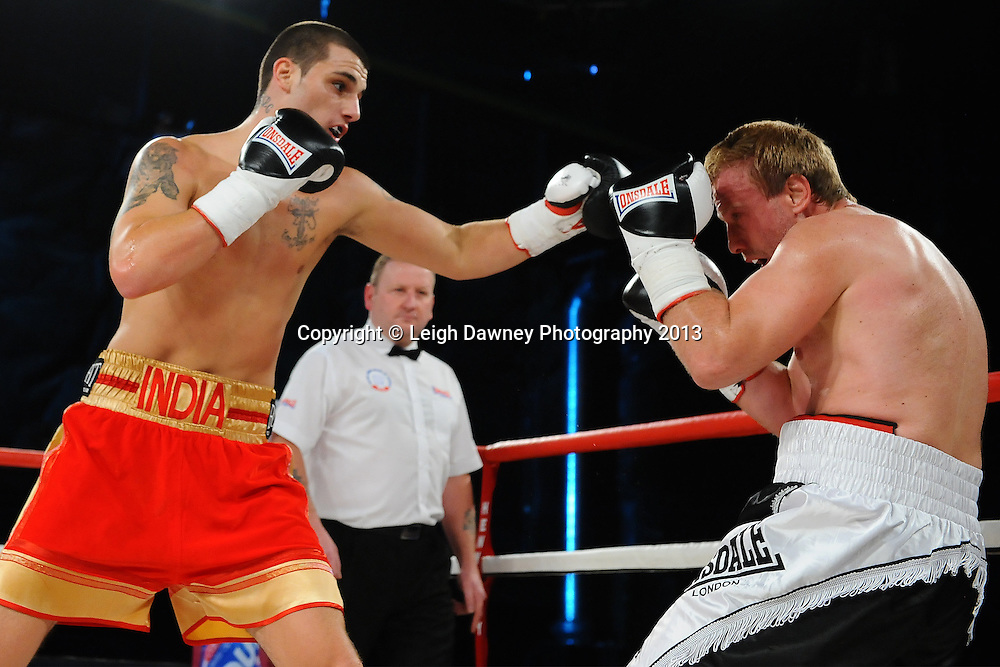 Liam Cameron defeats Zahari Mutafchiev in a 4x3 middleweight contest on Saturday 14th September 2013 at the Magna Centre, Rotherham. Hennessy Sports. Self billing applies. © Credit: Leigh Dawney Photography.