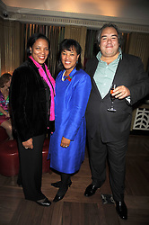 Left to right, HAZEL SCOTLAND, her sister BARONESS SCOTLAND and ? at a party to celebrate the 10th Anniversary of Claridge's Bar, Claridge's Hotel, Brook Street, London on 11th November 2008.
