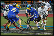 LaCrosse-Lincoln WAy East vs. Orland Park Chiefs  Chiefs Blue #15-Mike Stevens,  & #94-Andrew Weber, LWE White #4-Erik Vallow