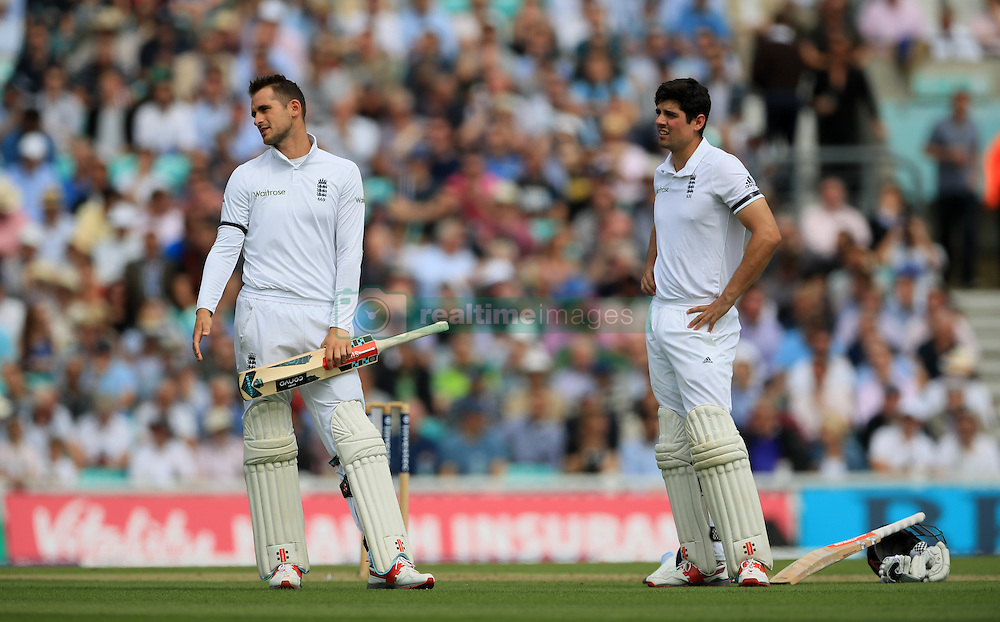 England's Alex Hales looks dejcted as he waits for the umpires decision before being given out for 6 during day one of the Fourth Investec Test match at The Kia Oval, London.