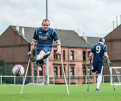 Gerry Mulheron of the Scotland squad of the Amputee Football Association Scotland gets some last minute training in before travelling to the Netherlands for their first tri-nations championship with the host country and Germany.<br /> <br /> © Dave Johnston/ EEm