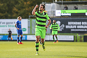 Forest Green Rovers Darren Carter(12) and celebrates his goal, 1-0 during the Vanarama National League match between Forest Green Rovers and Guiseley  at the New Lawn, Forest Green, United Kingdom on 22 October 2016. Photo by Shane Healey.